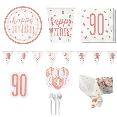 Rose Gold Glitz 90th Birthday 8 Person Deluxe Party Pack
