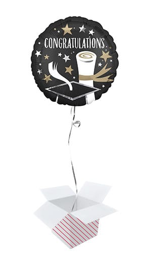 Satin Luxe Congratulations Graduate Round Foil Helium Balloon - Inflated Balloon in a Box