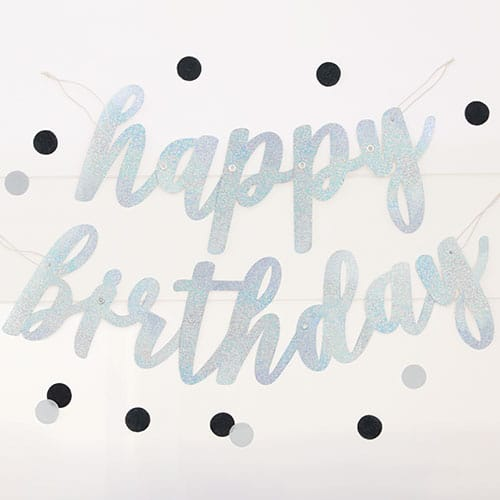 Silver Script Happy Birthday Holographic Foil Cardboard Letter Banner 84cm