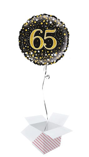 Sparkling Black 65th Birthday Holographic Round Foil Helium Balloon - Inflated Balloon in a Box