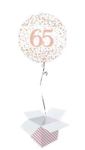 Sparkling Rose Gold 65th Birthday Holographic Round Foil Helium Balloon - Inflated Balloon in a Box
