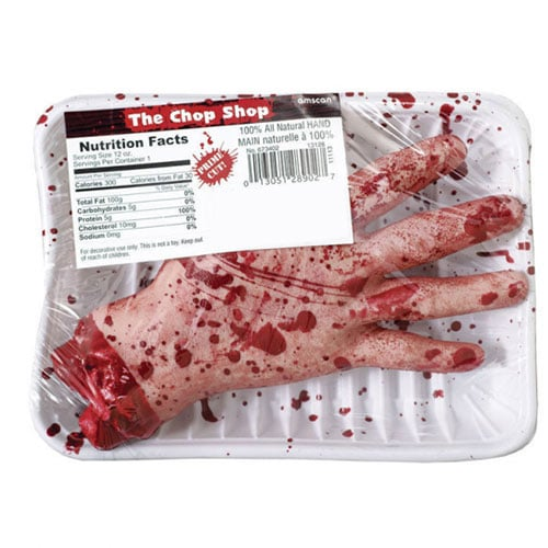The Chop Shop Plastic Bloody Hand Halloween Prop Decoration 19cm