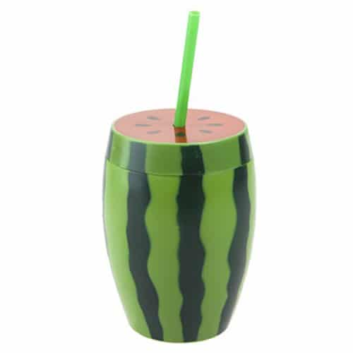 Watermelon Plastic Drinking Cup with Straw