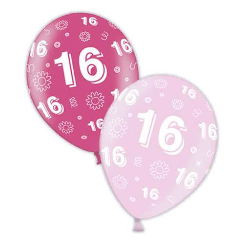 16th Birthday Pink Latex Balloons 28cm / 11 in - Pack of 25