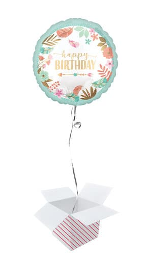 Boho Girl Birthday Round Foil Helium Balloon - Inflated Balloon in a Box