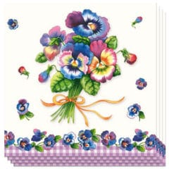 Bunch Of Pansy Luncheon Napkins 3Ply - 33cm - Pack of 20