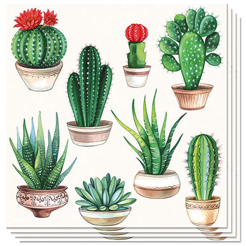 Cactus White Design Luncheon Napkins 3 Ply - 33cm - Pack of 20