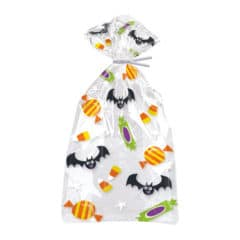 Cat & Pumpkin Halloween Cello Gift Bags With Twist Ties - Pack of 20