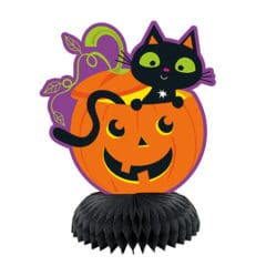Cat & Pumpkin Halloween Honeycomb Centrepieces Table Decorations - Pack of 3