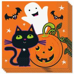 Cat & Pumpkin Halloween Luncheon Napkins 33cm 2Ply - Pack of 16
