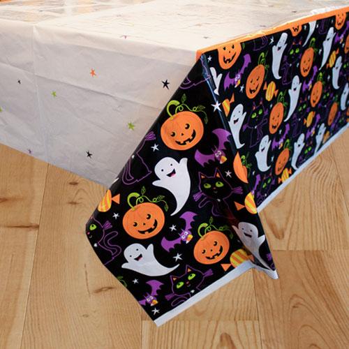 Cat & Pumpkin Halloween Plastic Tablecover 213cm x 137cm