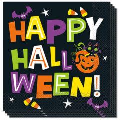 Cat & Pumpkin Happy Halloween Luncheon Napkins 33cm 2Ply - Pack of 16
