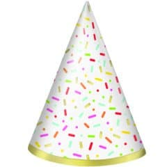 Donut Party Foil Stamped Cone Hats - Pack of 8