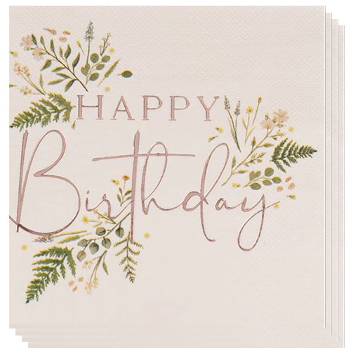 Floral Rose Gold Foiled Happy Birthday Luncheon Napkins 33cm 2Ply - Pack of 16