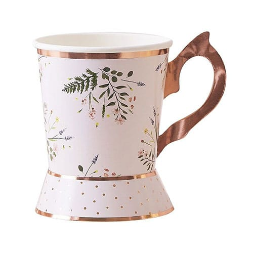 Floral Rose Gold Foiled Paper Cups 255ml - Pack of 8