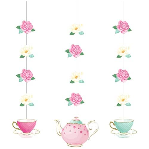 Floral Tea Party Hanging Decorations - Pack of 3
