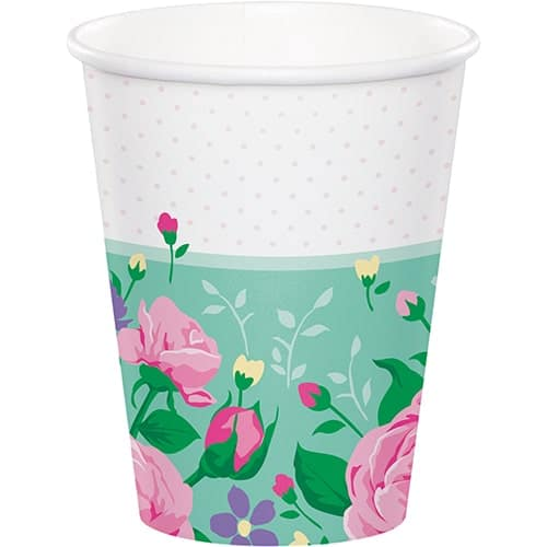 Floral Tea Party Paper Cups 266ml - Pack of 8