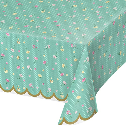 Floral Tea Party Plastic Tablecover 259cm x 137cm
