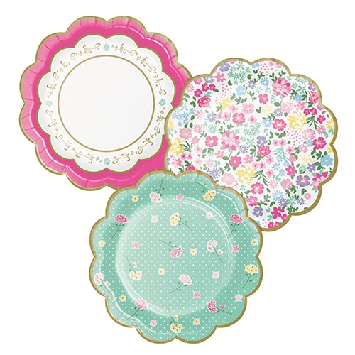 Floral Tea Party Scalloped Paper Plates 18cm - Pack of 8