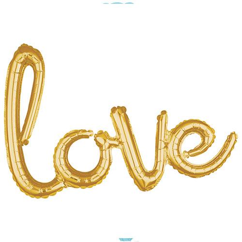 Gold Love Script Air Fill Foil Balloon 78cm / 31 in