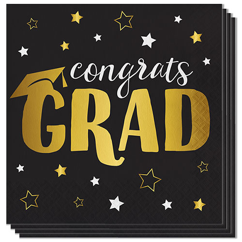 Graduation Adventure Foil Stamped Luncheon Napkins 33cm 3Ply - Pack of 16