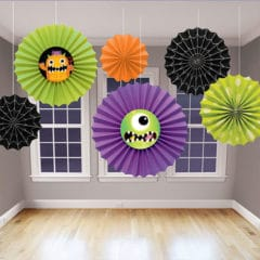 Halloween Boo Crew Monsters Fans Hanging Decorations - Pack of 6