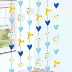 On your Christening Day Blue String Hanging Decorations - Pack of 6