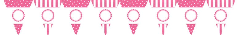Pink Dots & Stripes Customisable Paper Pennant Bunting Kit