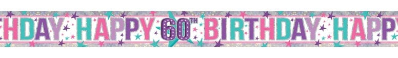 Pink Happy 60th Birthday Holographic Foil Banner 270cm