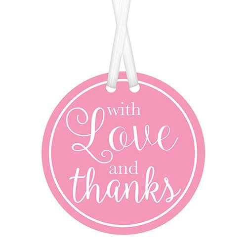 Pink With Love & Thanks Tags with Twist Ties - Pack of 25