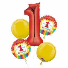 Rainbow 1st Birthday Foil Balloon Bouquet Kit