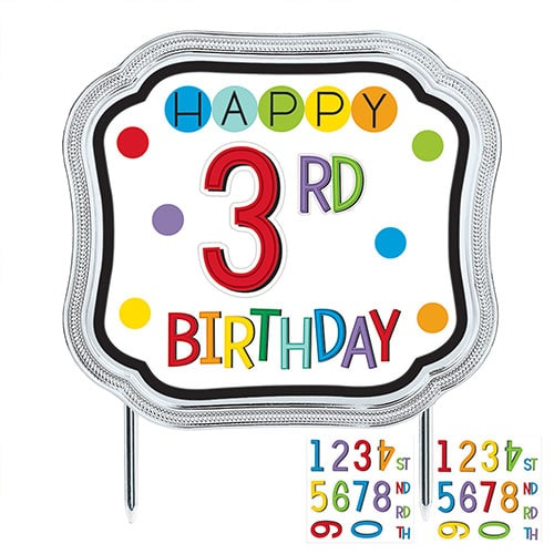 Rainbow Birthday Add-an-Age Customisable Cake Topper 13cm