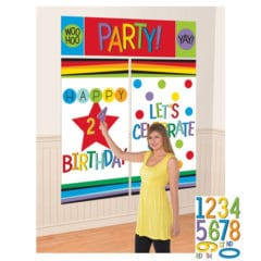 Rainbow Birthday Add-an-Age Customisable Wall Decoration Kit