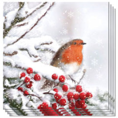Robin In Snow Design Luncheon Napkins 3 Ply - 33cm - Pack of 20