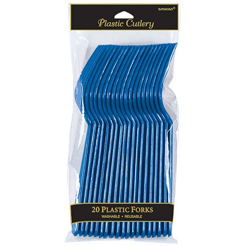 Royal Blue Plastic Forks - Pack of 20