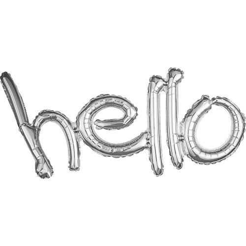 Silver Hello Script Air Fill Foil Balloon 83cm / 33 in
