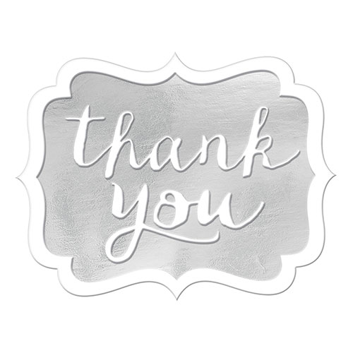 Silver Thank You Stickers - Pack of 50