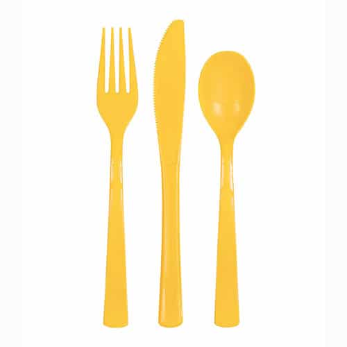 Sunflower Yellow Plastic Assorted Cutlery Set - Pack of 18