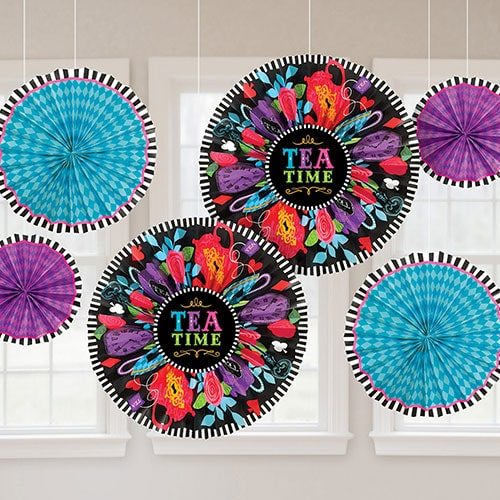 Tea Time Fans Hanging Decorations - Pack of 6