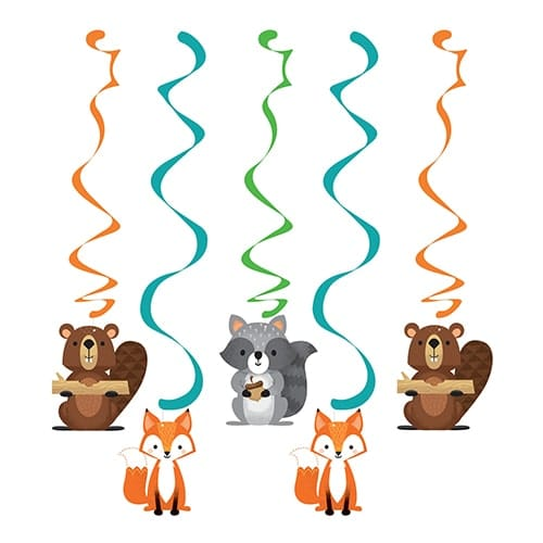 Woodland Animals Dizzy Danglers Swirl Hanging Decorations - Pack of 5