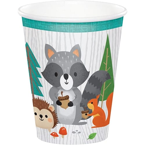 Woodland Animals Paper Cups 266ml - Pack of 8
