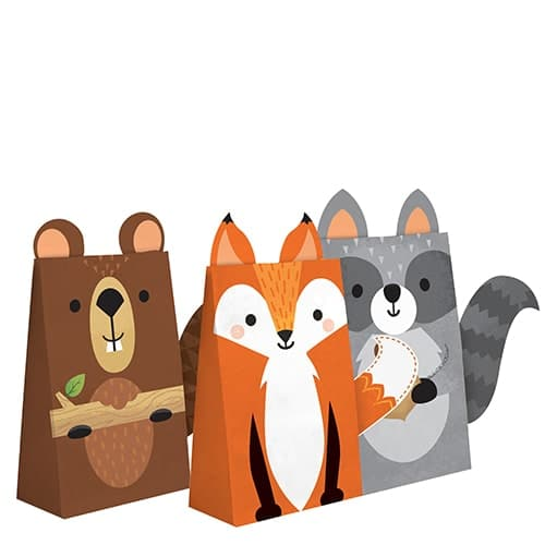 Assorted Woodland Animals Paper Treat Bags - Pack of 8