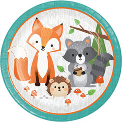 Woodland Animals Round Paper Plates 22cm - Pack of 8