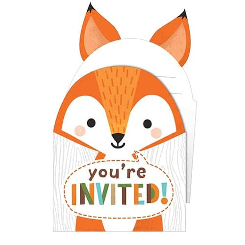 Woodland Animals Pop-Up Invitations with Envelopes - Pack of 8