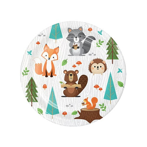 Woodland Animals Round Paper Plates 17cm - Pack of 8