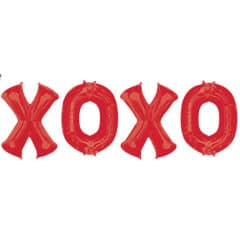 X-O-X-O Red Valentine's Day Foil Balloon Bouquet Kit