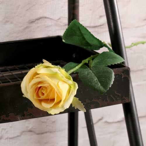Yellow Buckingham Rose Artificial Silk Flower 40cm Product Gallery Image