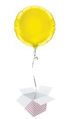 Yellow Round Foil Helium Balloon - Inflated Balloon in a Box