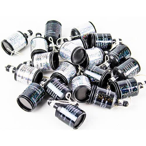 Black & Silver Glitz Holographic Party Poppers - Pack of 20