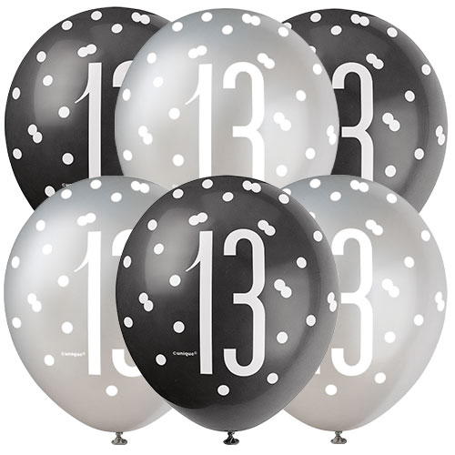 Black Glitz Age 13 Assorted Biodegradable Latex Balloons 30cm / 12 in - Pack of 6